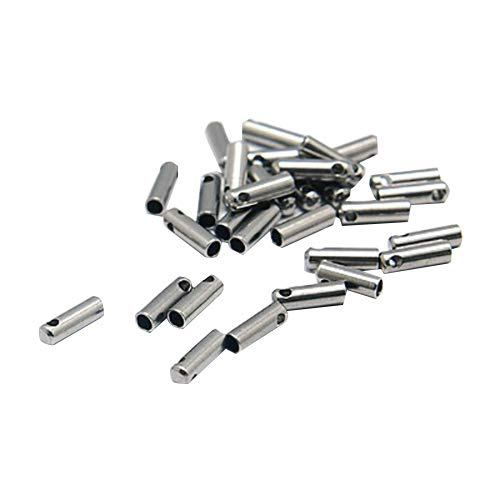 PandaHall About 20pcs 7x2mm Stainless Steel Silver Cord End Caps Column Tube for Leather Rope Necklace Bracelet Buckle,Cord Ends Craft Findings, Hole: 1mm ()