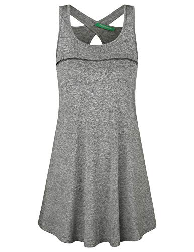 Kimmery Racerback Dress,Women Loose Fresh Designer Criss Cross Cutout Back Dresses Summer Running Compression Gym Wicking Park Picnic Holiday T Shirtwear Grey Medium