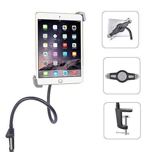 (Gooseneck Tablet Holder Stand, ieGeek 360 Degree Rotating Flexible Adjustable Long Arm Bolt Clamp Mount Desk Lazy Bracket Compatible with iPad Mini iPad 2/3/4/iPad Air, Samsung, for 7.2