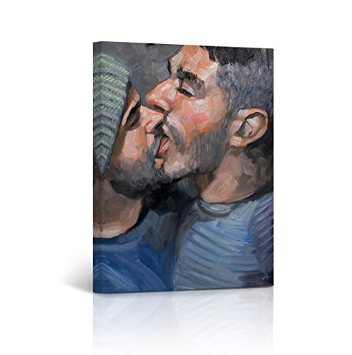 Buy4Wall Gay Art Couple Oil Painting Canvas Print Kissing LGBT Wall Art Home Decor Naked Nude Artwork Man Sexy Wall Art Stretched and Framed - Ready to Hang -%100 Handmade in The USA - 12x8