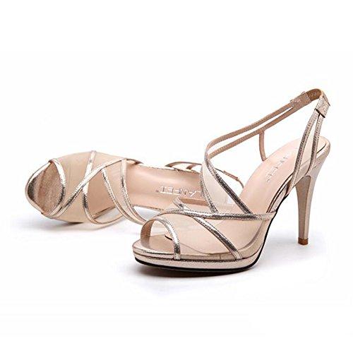94a8ec8e 60% de descuento YXINY Zapatos de tacón Sandalias Tacones Sra. Temporada De  Verano Nuevo Estilo Temperamento Malla Boca De Pescado 8.5CM Oro / Negro (  Color ...