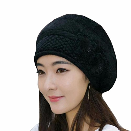Wondere Womens Winter Fashion Beret Cap Warm Flower Stretch Knit Wool Crochet Beanie Hat (Black)
