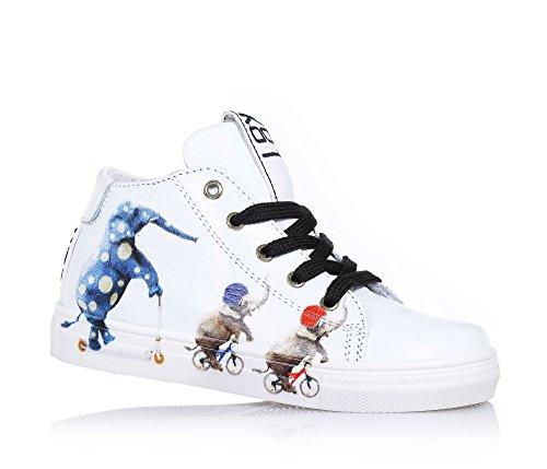 Ser Kool - Tênis Branco Com Laços, Inspirado Pela Arte De Rua Do Mundo, O Lado Um Zíper, Ilhós Metálicos, Laços De Dois Tons, As Crianças Unise