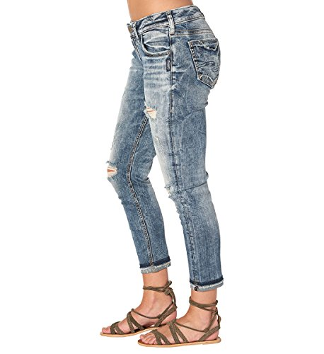 Silver Jeans Women's Co Kenni Mid Rise Girlfriend-Relaxed Skinny, Marble Destroyed, 32 by Silver Jeans Co. (Image #4)