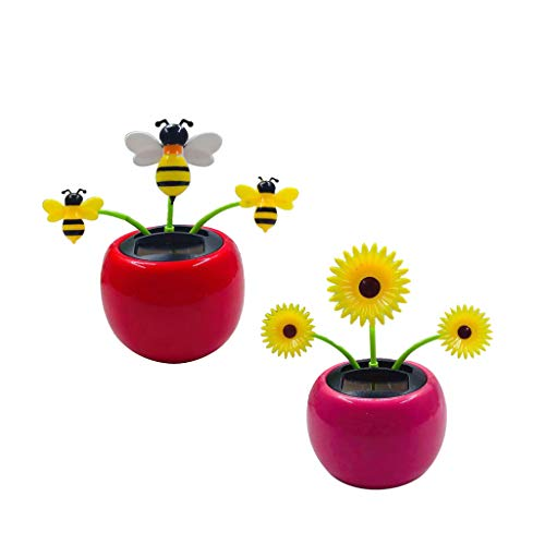 B Blesiya Daisy &Bee 2Pcs Solar Dancing Flower Toy Funny Bobble Head Toys Kid Educational and Eco-Friendly Toy Gift