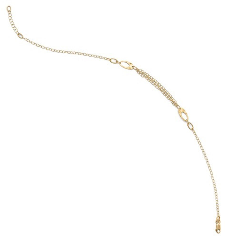 14k Yellow Gold Oval Chain Anklet 10 Inches plus Extender