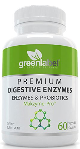 Green Label Health Digestive Enzymes with Probiotics, Natural Support for Better Digestion & Lactose Absorption, Helps Constipation & Gas Relief, IBS, Leaky Gut, Diarrhea