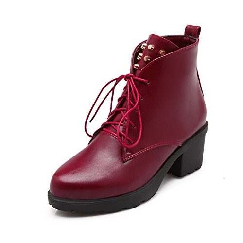 Women's Pointed AgooLar Red Blend Solid Heels Boots Kitten Toe up Materials Lace nqYCYUHd