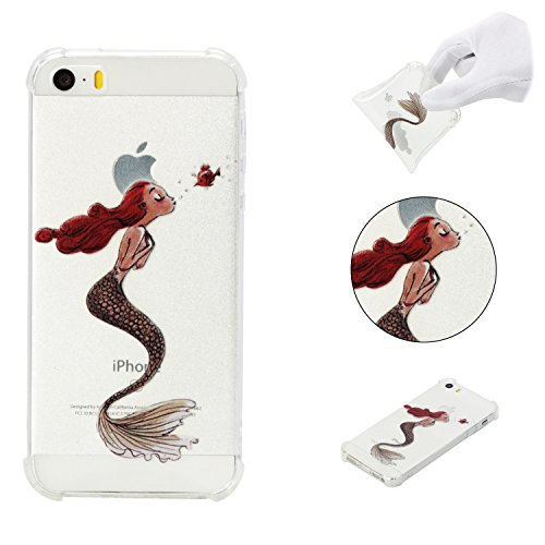 iPhone 5SE Case,iPhone 5S Case,AMYM Amusing Whimsical Painted Design Transparent Shockproof TPU Soft Case Rubber Silicone Cover for iPhone 5SE/5S/5C/5 (Merman)
