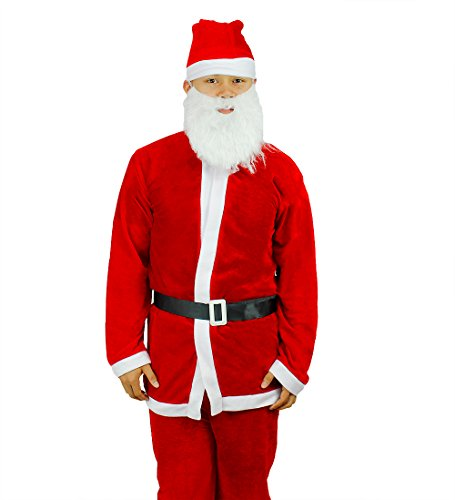 Festive Christmas Velour 5 Piece Santa Claus Suit Costume, Red & White, One Size (Festive Costume)