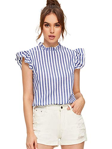 - Romwe Women's Cotton Stripe Ruffle Sleeve Elegant Blouse Summer Top Blue-1 Small