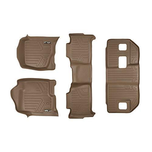 - SMARTLINER Floor Mats 3 Row Liner Set Tan for 2007-2014 Chevrolet Suburban/GMC Yukon XL and Denali XL