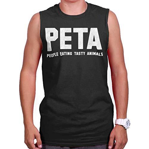 Eating Animals People Tasty (PETA People Eating Tasty Animals Ironic Gym Sleeveless T Shirt Black)