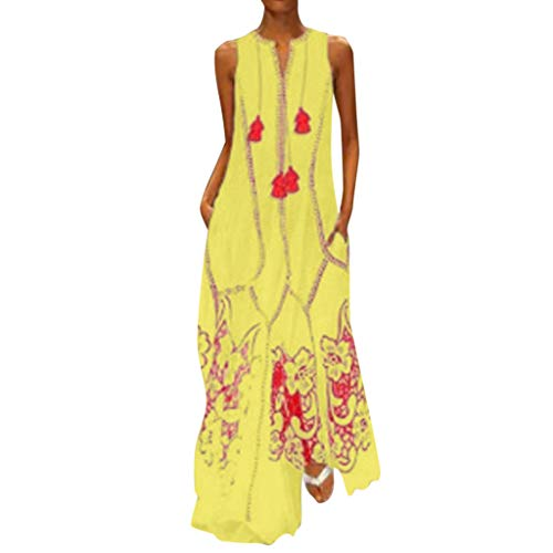 TEVEQ Women Maxi Dress Casual Vintage Dress Floral Sleeveless Loose Party Long Dress Bohemia Dress