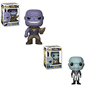 Funko POP! Marvel Comic Avengers Infinity War: Thanos and Ebony Maw Bobblehead Toy Action Figure - 2 POP BUNDLE