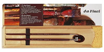 Da Vinci Series 5242 Oil Painting Deluxe Wood Box 5 Brush Set with Wood Mixing Palette