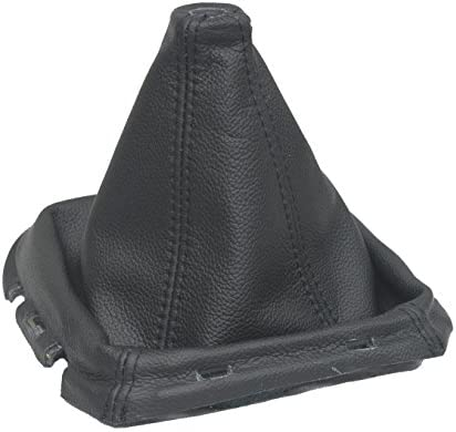 Schaltsack mit Schaltmanschette, schwarzes Leder, Kunststoff-Rahmen
