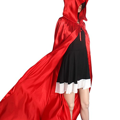 Oksale Halloween Death Hooded Fluff Fiber Cloak Adult Long Section of Mopping The Floor Masquerade Cope Robe (red) (S, Red)]()