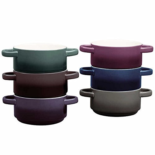 6-Piece Stackable, Dishwasher Safe, Microwave Safe, Durable Stoneware, Ombre Bowl Set Gourmet Basics by Mikasa features Two Convenient Non-Heating Handles