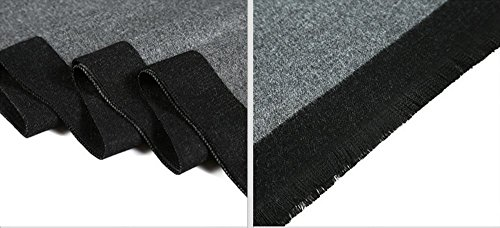 MMYOMI Mens Tartan Plaid Super Soft Cotton & Silk Knitted Scarves for Autumn and Winter, Black and Dark Grey, 180 x 30cm