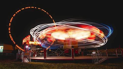 Home Comforts Canvas Print Amusement Park Tilt A Whirl Ride Colors County Fair Vivid Imagery Stretched Canvas 32 x ()