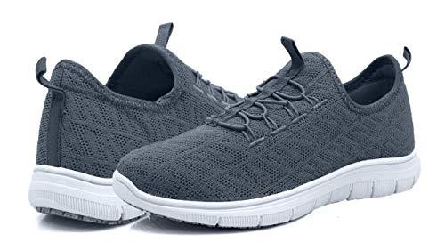 (Laforst Jewel 3155 Womens Synthetic Mesh Upper Lace Up Slip Resistant Server Waitress Slip On Sneaker Pewter 7.5)