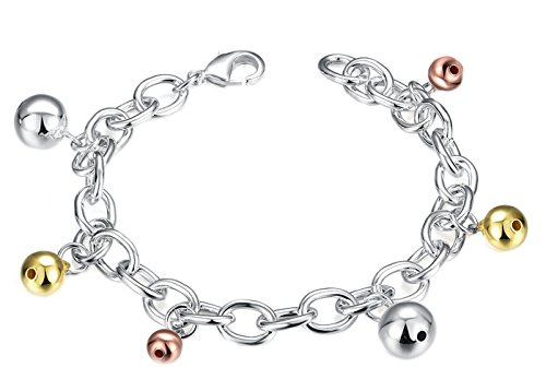 Goldenchen Fashion Jewelry 925 Silver Plated Multi Color Christmas Jingle Bells Bracelet for Women and Girls