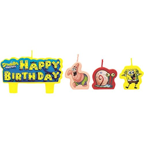 Party Time SpongeBob Molded Mini Character Birthday Candle Set, Pack of 4, Multi , 1.25