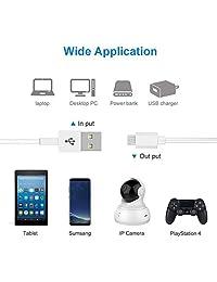 2Pack Cable de cable de extensión de alimentación 16.5 pies para WyzeCam, Wyze Cam Pan, Yi Camera, Nest Cam Indoor, Kasa Cam Indoor, Furbo Dog, Blink, Cloud Cam, Cable de carga USB duradero a Micro USB para cámara de seguridad