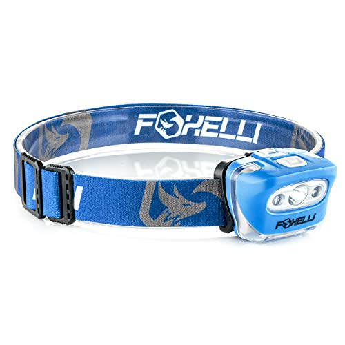 (Foxelli Headlamp Flashlight - 165 Lumen, 3 x AAA Batteries Operated, Bright White Cree Led + Red Light, Perfect for Runners, Lightweight, Waterproof, Adjustable Headband, 3 AAA Batteries Included)