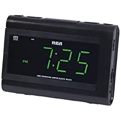RCA Dual Wake Clock Radio with USB Charging