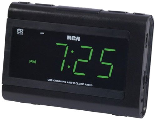 RCA Dual Wake Clock Radio with USB Charging (Audiovox Ipod)