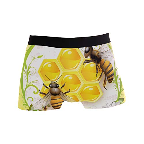 - JERECY Honey Bee Boxer Briefs Men's Underwear Boys Stretch Breathable Low Rise Trunks L