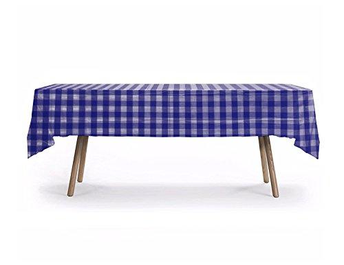 10 CT Royal Blue/White Checker Table Cover, American Style Checker Design, Premium Plastic Tablecloth, Plastic Table Cover (Royal Blue Checker)]()