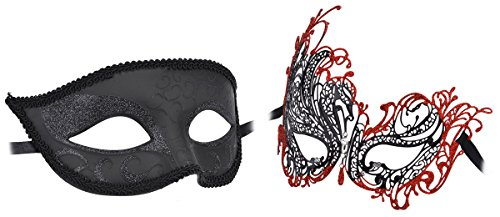 [Masquerade Masks For Couples, Coxeer Venetian Couples Masquerade Mask Halloween Costume Mardi Gras Mask For Men & Womne (Black +] (Burlesque Man Costume)