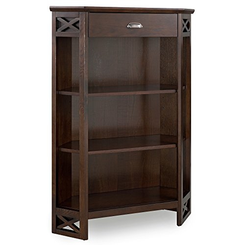 Leick Furniture 81263 Mantel Height 3-Shelf Corner Bookcase with Drawer Storage by Leick Home, Chocolate Oak
