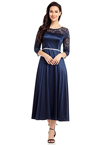 GRAPENT Women's Lace 3/4 Sleeve Evening Dress A Line Midi Flowy Party Dress Navy Blue Size XL