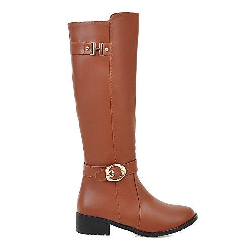 AllhqFashion Damen Weiches Material Reißverschluss Rund Zehe Niedriger Absatz Stiefel, Braun, 35