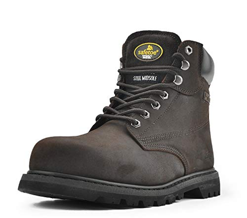 Boot Leather Fire - SAFETOE Men's Steel Toe Work Boots, Genuine Leather Safety Boots Slip Resistant Work Shoes for Industrial & Construction Work (Wide Fit) Dark Brown