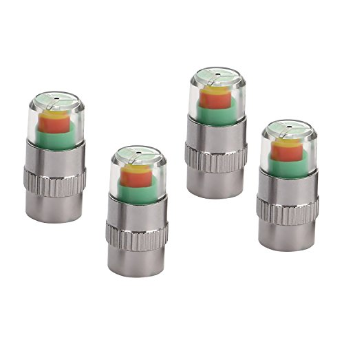 CICMOD 4pcs Car Tire Presure Monitor Valve Stem Caps with Sensor Indicators Alert Stainless Steel