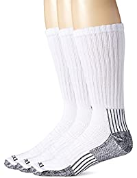 Mens Industrial Heavyweight Cushion Work Crew Socks - White, 3-Pack