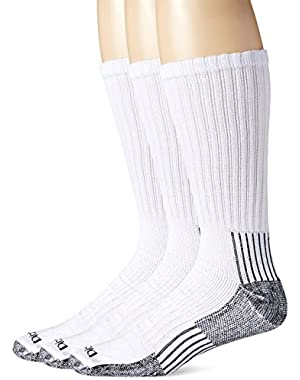 Men's Big-Tall 3 Pack Heavyweight Cushion with Compression Crew Socks, White, 13-15 Sock/12-15 Shoe