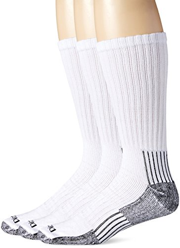 Dickies Men's Big-Tall 3 Pack Heavyweight Cushion with Compression Crew Socks, White, 13-15 Sock/12-15 Shoe