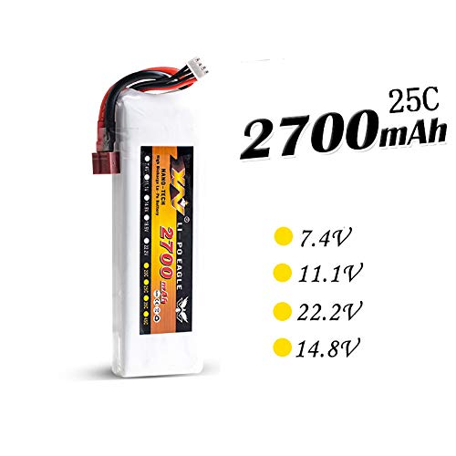 - Accessories RC Drone Battery 7.4V 11.1V 14.8V 22.2V 2700mAh 25C RC LiPo Li-Poly Battery for Helicopters Quadcopter RC Drone FPV - (Color: 3S)