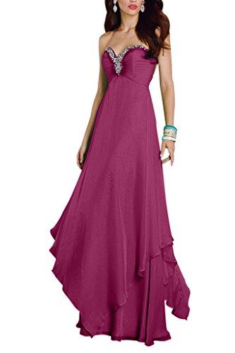 Abendkleider Ballkleider Partykleider Langes La Herzausschnitt Braut Fuchsia A Rock Linie mia Chiffon mit Festlichkleider Promkleider 1wxIBxgq