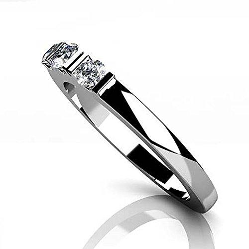 Or blanc 14K Triple Espacés de bande de diamant