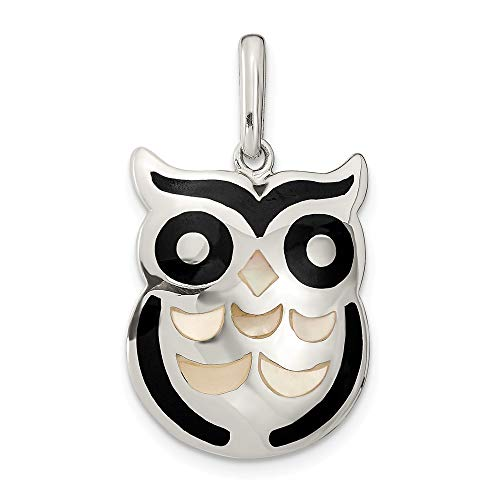 925 Sterling Silver Mop Black Onyx Owl Pendant Charm Necklace Bird Fine Jewelry Gifts For Women For Her