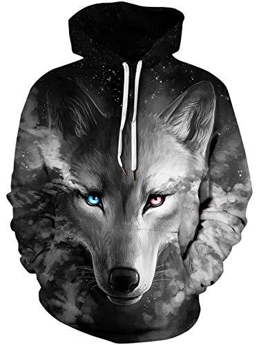 Custom Digital Print Hoodies Cool Youth & Adult Guys Men Women Pullover Shirt Premium Quality Hooded Sweatshirt Tops with Kangaroo Pocket for Campus College School, Wolf, Large/X-Large - Hoodie Premium Adult