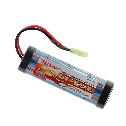 Tenergy 9.6V Airsoft Battery High Capacity 1600mAh NiMH Flat Battery Pack with Mini Tamiya Connector for Airsoft guns MP5, SCAR, M249, M240B, M60, G36, M14, RPK, -