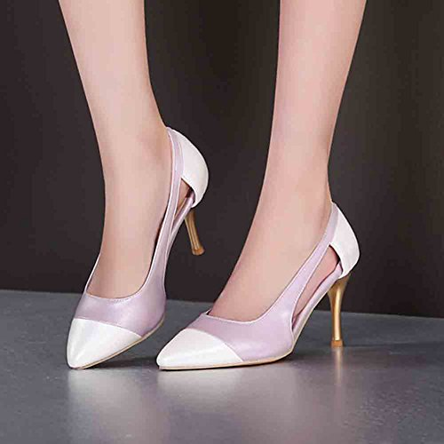 High Stiletto Sandals Cut Heel Purple Pointed Out Stitching Women's Toe Aisun Low Top zxP8ffwqA